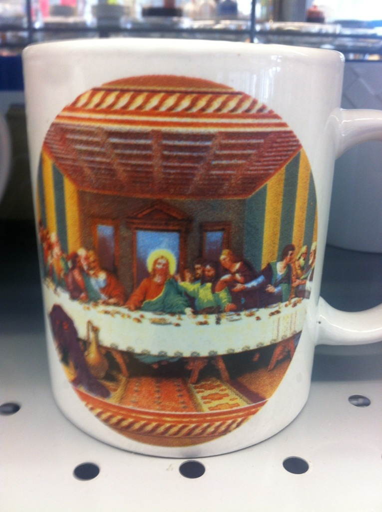 Morning coffee in a last Supper mug?  Of course.