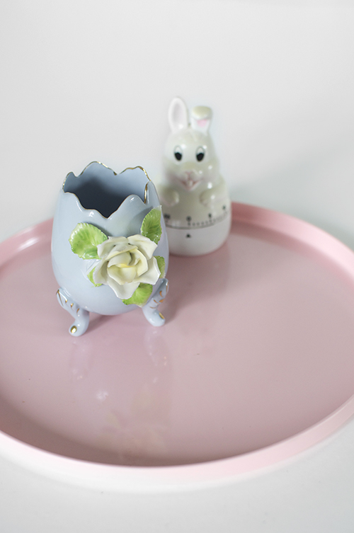vintage bunny timer pink melamine ornate egg cup decoration easter presents