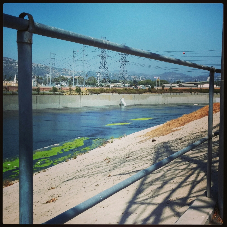 View from my bike of the fabulous LA RIVER!  Like no other river in the world.