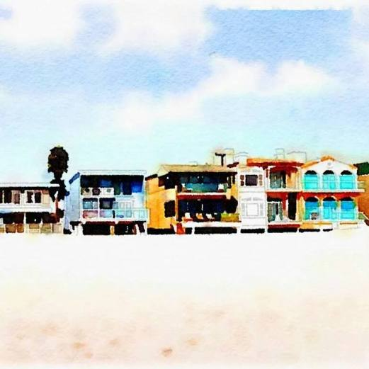 My neighborhood beachfront in water colour