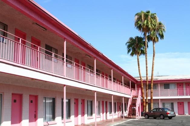 Pink vintage motel